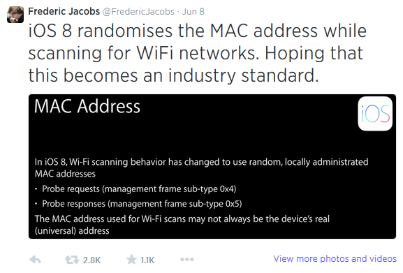 iOS8 nasconde il MAC Address
