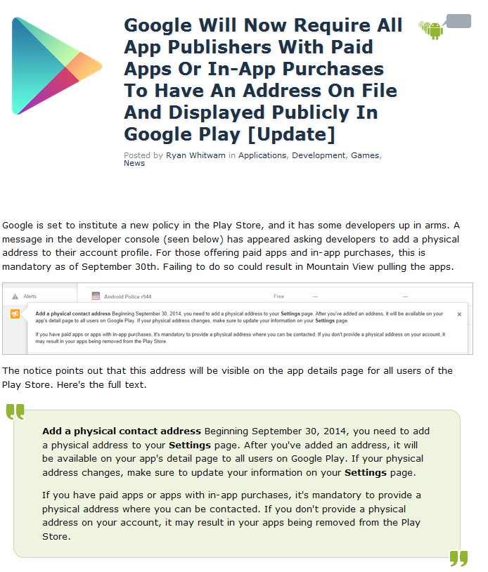 Google Play Store: richiesta indirizzo agli sviluppatori