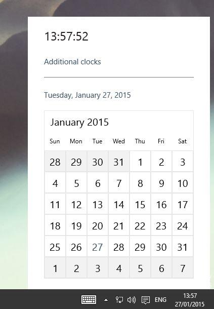 Nuovo calendario orologio windows 10