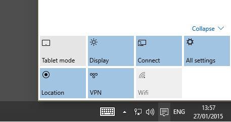 Pannello notifiche pulsanti windows 10